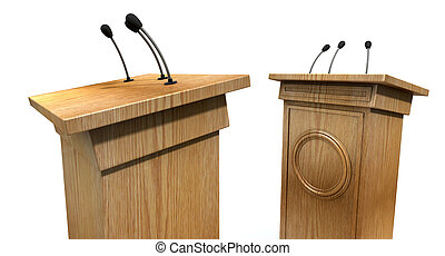 Opposing Debate Podiums - Two opposing regular wooden debate...