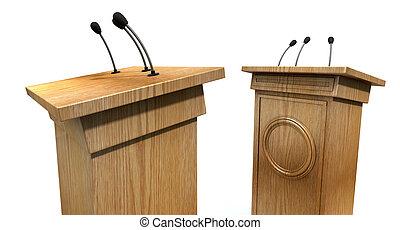 Opposing Debate Podiums - Two opposing regular wooden debate...