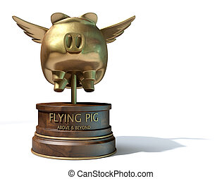 Flying Pig Trophy Award - A gold trophy of a mythical flying...