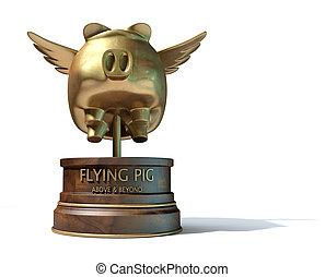 voando, porca, troféu, distinção,