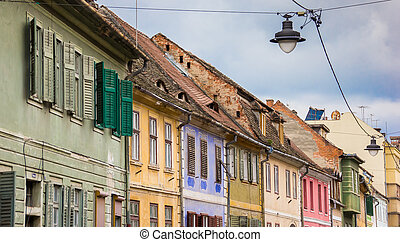 Colorful houses in the historical center of Sibiu, Romania