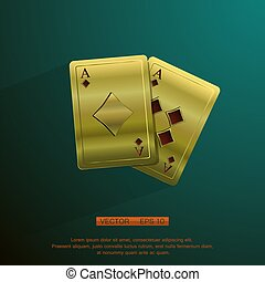 golden aces - vector Illustration of a background with...