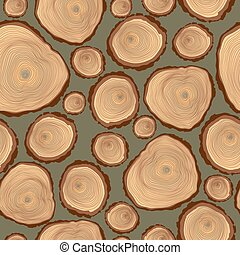 Vector seamless pattern of  tree log cutted.