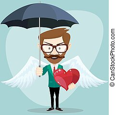 Angel Man with an umbrella, Wings