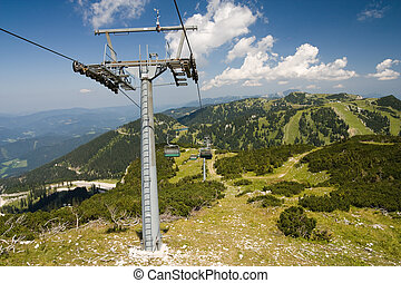 pylon of cablecar in hochkar mountains in austria, europe