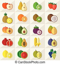 Fruits icons set vector - Set of fruits flat icons vector...