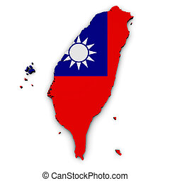 Taiwan Map Flag Shape - Shape 3d of Taiwan map with...