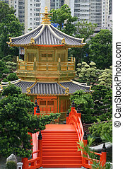 Traditional Chinese Pagoda and Garden in Hong Kong