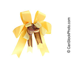yellow ribbon - yellow ribbon on white background with...