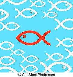 Blue background with fish. Vector illustration.