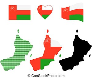 Oman map - map flag and symbol of Oman on a white background