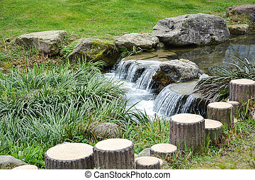 Small waterfall in Chinese garden - Small waterfall over...