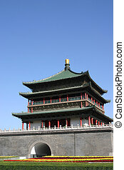 The Bell Tower, a famous landmark in the centre of Xian City - China