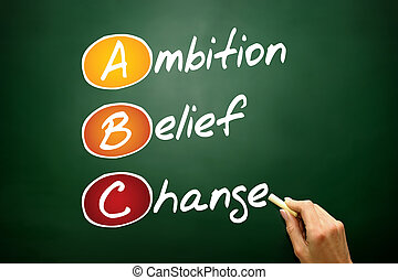 Ambition Belief Change ABC, business concept acronym on...