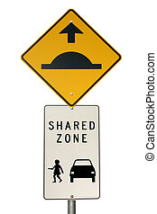 An isolated speed hump sign and shared zone sign.