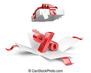 Open gift box with red percent symbol