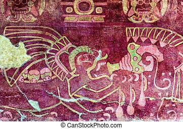 Murales, en, Teotihuacan,
