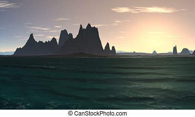 Sunrise over a rocky island in the - By turquoise sea...