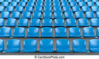 Blue plastic seats at the stadium, camera slide to right