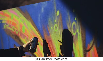 Graffiti Artist Paint Spraying Wall - Adult Male Graffiti...