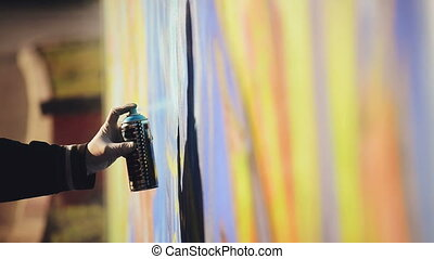 Graffiti Artist Paint Spraying Wall