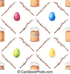 Watercolor easter pattern - Easter cake, eggs and willow...