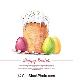 Watercolor easter cake - Easter cake, eggs and willow twigs...