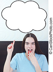 woman in bedroom showing up at at thinking speech bubble,...
