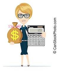 Accountant with a Calculator - Business woman with a...