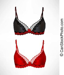 set of 2 bras - Set of different female fashion bra icons...
