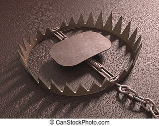 Bear Trap - Bear trap on rough floor. Clipping path...
