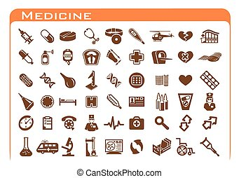 Medicine Icons - Fifty four brown medicine icon set on white...