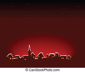 Snowy Town - Abstract vector illustration of a small town...