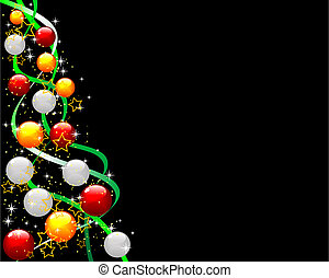 Christmas tree - Abstract vector illustration of a decorated...