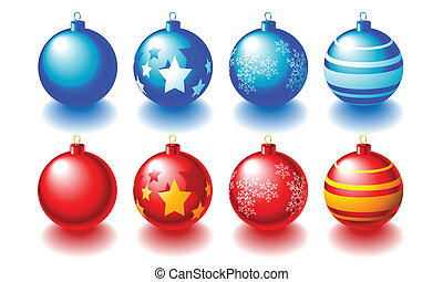 Christmas Balls - Abstract vector illustration of red and...