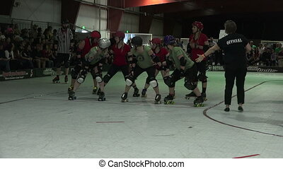 Roller Derby Referee - A roller derby referee skates pass...