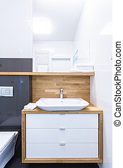 Cupboard in luxury bathroom - Vertical view of cupboard in...