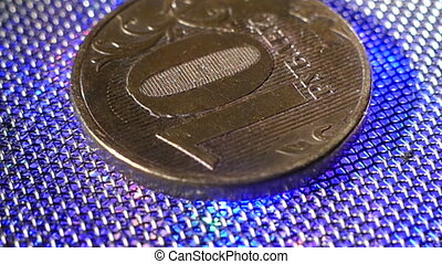 Gyrating coin - ten ruble backlit , mov , HD