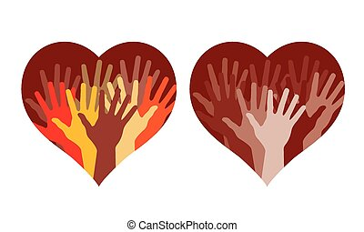 Hearts with many helping hands, vector illustration