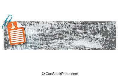 banner with scratches background and document and arrow