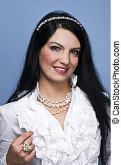 Elegant woman with white pearls - Very elegant woman with...