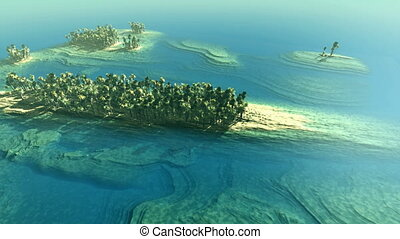 Aerial shot of tropical islands