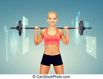 smiling sporty woman exercising with barbell - fitness,...