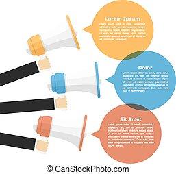 Megaphones with speech bubbles, promotion or announcement...