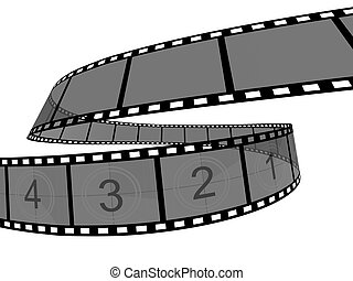 Film Strip - 3d Film Strip White background Digitally...