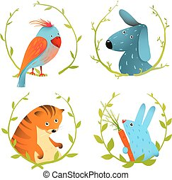 Set of Cartoon Domestic Animals Portraits