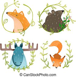 Wild Forest Animals Set - Forest animals portraits set with...