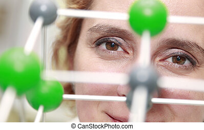 The Eyes Of A Researcher - Image of a female researcher eye...
