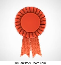 Red Realistic Textile Rosette with Ribbons Vector...