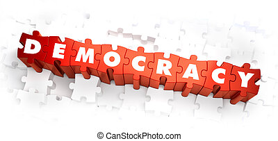 Democracy - Word on Red Puzzles 3D Render